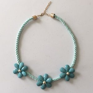 Aqua corded necklace with flowers, NWOT